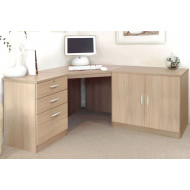 Small Office Corner Desk Set With 3 Drawers & Cupboard (Sandstone)