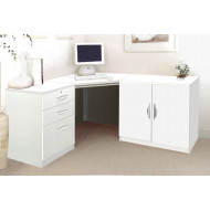 Small Office Corner Desk Set With 3 Drawers & Cupboard (White)