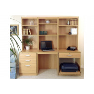 Small Office Desk Set With 3+1 Drawers, Printer Shelf & Hutch Bookcases