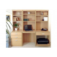 Small Office Desk Set With 3+1 Drawers, Printer Shelf & Hutch Bookcases (Classic Oak)