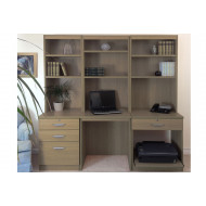 Small Office Desk Set With 3+1 Drawers, Printer Shelf & Hutch Bookcases (English Oak)