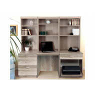 Small Office Desk Set With 3+1 Drawers, Printer Shelf & Hutch Bookcases (Grey Nebraska)