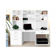 Small Office Desk Set With 3+1 Drawers, Printer Shelf & Hutch Bookcases (White)
