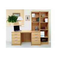 Small Office Desk Set With 4+3 Drawers & Bookcases (Classic Oak)