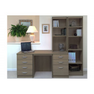Small Office Desk Set With 4+3 Drawers & Bookcases (English Oak)