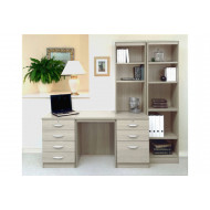 Small Office Desk Set With 4+3 Drawers & Bookcases (Grey Nebraska)