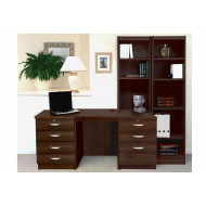 Small Office Desk Set With 4+3 Drawers & Bookcases (Walnut)