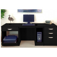 Small Office Desk Set With 1+3 Drawers, Printer Shelf & CPU Unit (Black Havana)
