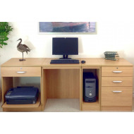 Small Office Desk Set With 1+3 Drawers, Printer Shelf & CPU Unit (Classic Oak)