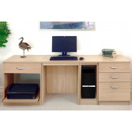 Small Office Desk Set With 1+3 Drawers, Printer Shelf & CPU Unit (Sandstone)