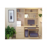Small Office Desk Set With 3 Drawers, Computer Workstation & Hutch Bookcases (Beech)