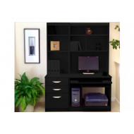 Small Office Desk Set With 3 Drawers, Computer Workstation & Hutch Bookcases (Black Havana)