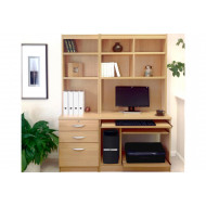 Small Office Desk Set With 3 Drawers, Computer Workstation & Hutch Bookcases (Classic Oak)
