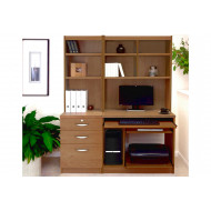 Small Office Desk Set With 3 Drawers, Computer Workstation & Hutch Bookcases (English Oak)