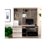 Small Office Desk Set With 3 Drawers, Computer Workstation & Hutch Bookcases (Grey Nebraska)
