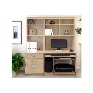 Small Office Desk Set With 3 Drawers, Computer Workstation & Hutch Bookcases (Sandstone)