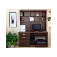 Small Office Desk Set With 3 Drawers, Computer Workstation & Hutch Bookcases (Walnut)