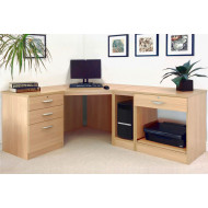 Small Office Corner Desk Set With 3+1 Drawers, Printer Shelf & CPU Unit (Classic Oak)