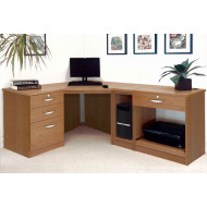 Small Office Corner Desk Set With 3+1 Drawers, Printer Shelf & CPU Unit (English Oak)