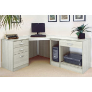Small Office Corner Desk Set With 3+1 Drawers, Printer Shelf & CPU Unit (Grey Nebraska)