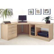 Small Office Corner Desk Set With 3+1 Drawers, Printer Shelf & CPU Unit (Sandstone)