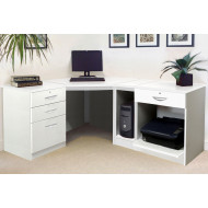 Small Office Corner Desk Set With 3+1 Drawers, Printer Shelf & CPU Unit (White)