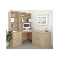 Small Office Corner Desk Set With 3 Drawers, Cupboard & Hutch Bookcases (Beech)