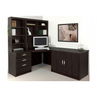 Small Office Corner Desk Set With 3 Drawers, Cupboard & Hutch Bookcases (Black Havana)
