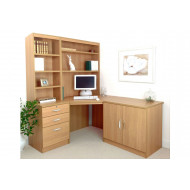 Small Office Corner Desk Set With 3 Drawers, Cupboard & Hutch Bookcases (Classic Oak)