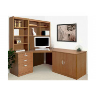 Small Office Corner Desk Set With 3 Drawers, Cupboard & Hutch Bookcases (English Oak)