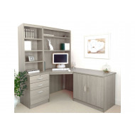 Small Office Corner Desk Set With 3 Drawers, Cupboard & Hutch Bookcases (Grey Nebraska)