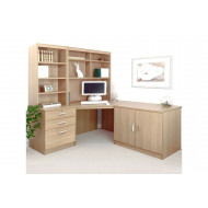 Small Office Corner Desk Set With 3 Drawers, Cupboard & Hutch Bookcases (Sandstone)