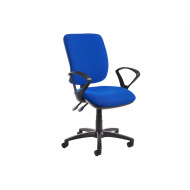 Isla High Back Fabric Operator Chair Fixed Arms (Blue)