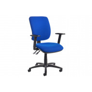 Isla High Back Fabric Operator Chair Adjustable Arms (Blue)
