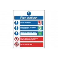 Fire action notice safety sign (symbolised)