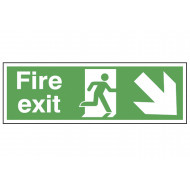 Fire Exit Safety Sign (Arrow Down Right)