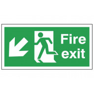 Fire Exit Safety Sign (Arrow Down Left)