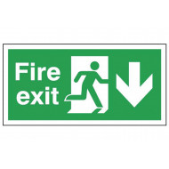 Fire exit safety sign (arrow down)