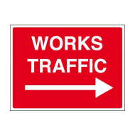 Works traffic arrow right stanchion sign