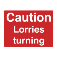 Caution lorries turning stanchion sign