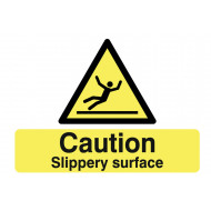 Caution Slippery Surface Stanchion Sign