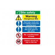 Warning Dangerous Site, No Children Multi Message Site Safety Sign