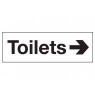 Toilets Sign With Arrow Pointing Right