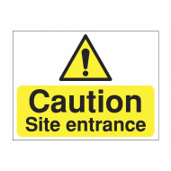 Caution site entrance warning construction sign