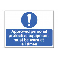 Approved PPE Must Be Worn Construction Sign