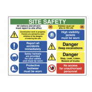 All Visitors And Drivers Must Report To Site Safety Sign