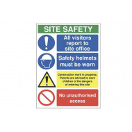 All Visitors Report To Site Office Site Safety Sign
