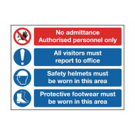 No Admittance Authorised Site Safety Board