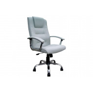 Skye High Back Silver Leather Faced Executive Chair