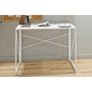 Shen Home Office Desk With Square Legs And Cross Supports (White)